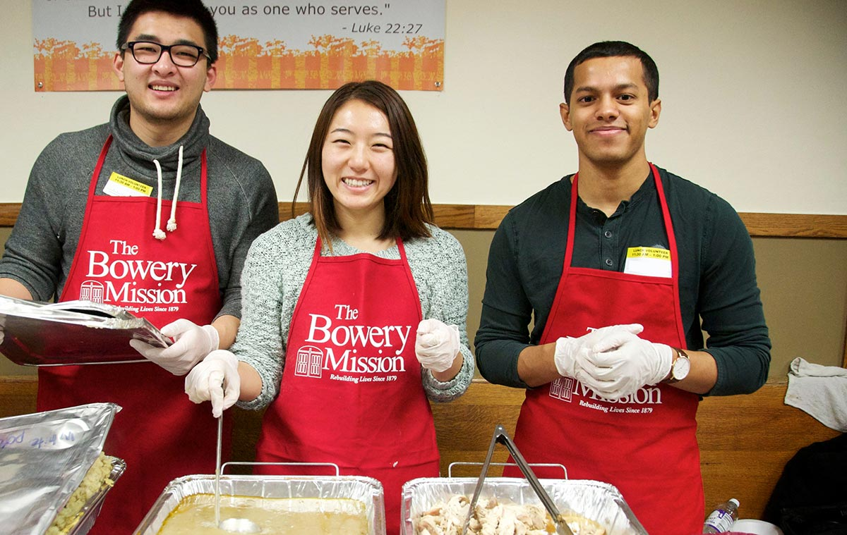 Serving meals at The Bowery Mission