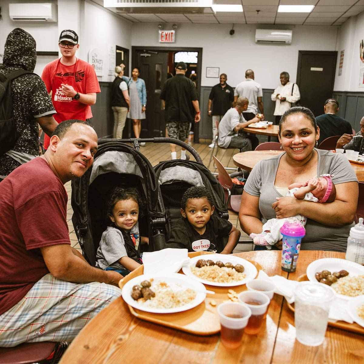 Family eating at The Bowery Mission